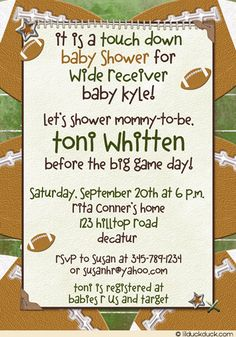 Celebrate the coming wide receiver with touch down football baby shower invitation! Classic football shades of green, brown