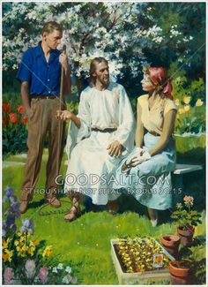 Christ speaks with a couple in a garden at springtime. Harry Anderson painting from the Review & Herald Art Collection.
