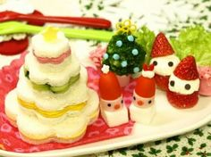 """Christmas Tree Sandwiches! """"They are Christmas tree sandwiches you can make easily. ~ I purposely didn't decorate them so that they are easy to eat for kids. Recipe by Mihochinww""""  @allthecooks #recipe"""