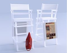 3D life guard chair and red paddle float models for Poser and DAZ studio has texture templates for the back sign board and float.