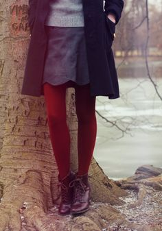 The Clothes Horse. Deep and vibrant red tights. Fall perfect.