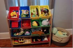 awesome toy storage - just take out one or two bins at a time, so things don't get too messy!