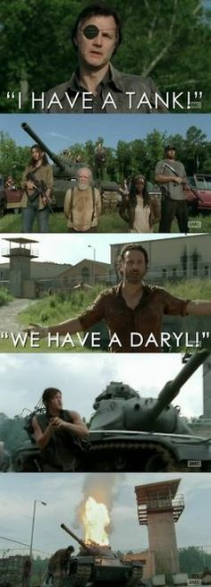 """I have a tank."" ""We have a Daryl!"" #DarylDixon #WalkingDead #Governor #RickGrimes"