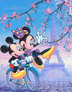 Mickey Mouse - Spring Time Bike Ride - Minnie - William Silvers - World-Wide-Art.com