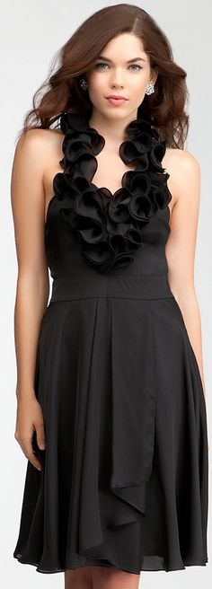 Ruffle Halter Satin Dress - Imagine this in light blue or grey... bridesmaid dress! I love this