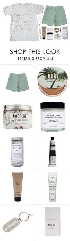 """""""hello there"""" by nandim ❤ liked on Polyvore featuring Wrangler, Urban Decay, SkinCare, Honey Corn, Herbivore, Aesop, Giorgio Armani, Chanel and Nails Inc."""