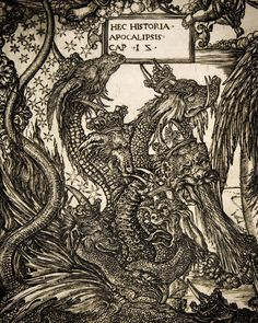 """Apocalypse, Plate The Woman Clothed with the Sun, The Seven-Headed Dragon, and Her Son, Blessed by God - Detail of Engraving) - by Jean Duvet"""" Maleficarum, Renaissance Artists, Albrecht Durer, Fantastic Art, Old Art, Macabre, Line Art, Mystic, Fairy Tales"""