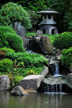 Stone Japanese lantern highlights this backyard pool with waterfall