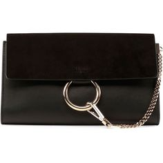 Chloe Faye Leather & Suede Clutch Bag (6,060 CNY) ❤ liked on Polyvore featuring bags, handbags, clutches, black, genuine leather purse, black purse, black handbags, chloe purses and black leather purse