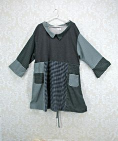 Plus Size 3X Tunic, Sweatshirt Tunic,Upcycled Clothing,Boho Clothing,Flannel Top,Grey Sweatshirt,Blue and Green Shirt,Eco Clothing by RepurposeCouture on Etsy