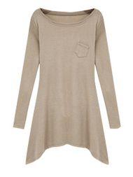 Solid Color Asymmetric Hem Long Sleeve T-Shirt