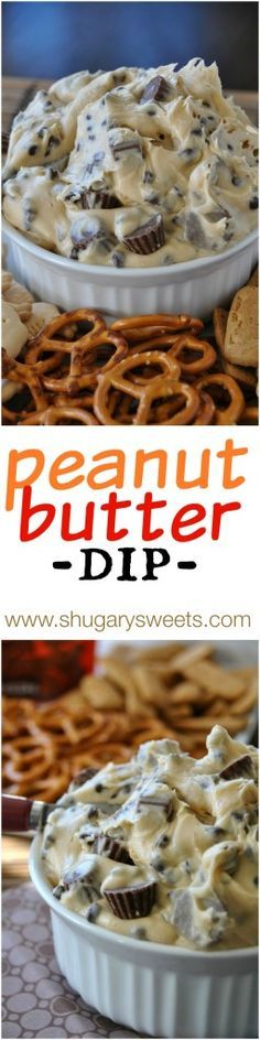 Reese's PB Cookie Dough Dip: a creamy cookie dough dip (no egg) that is perfect for your next party! #Reese's #peanutbutter #gameday