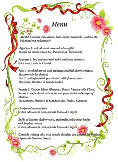 italian menus from italy - Google Search