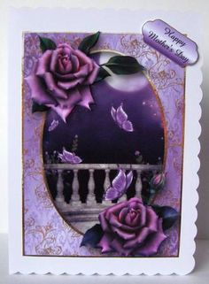 The Moonlit Balcony With Roses Flutters on Craftsuprint designed by Anne Lever - made by Margaret McCartney - I printed the design onto good quality photographic paper and cut it out. I scored and folded a C5 scalloped edged card. I attached the design to the card using double sided tape. I assembled the decoupage using thin foam tape. I added the greeting using thin foam tape. - Now available for download!