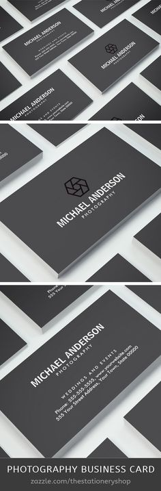 Photographer or photography business card. A stylish, dark gray, vertical photography personal profile or business card featuring a black camera lens shutter logo. Customizable name, title / business name and contact information on the front. Easy to customize template from The stationery shop/Zazzle