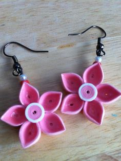 Quilled Flower Earrings  Pink with white by NaturalBornQuiller, $12.00