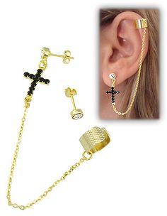 Brinco EAR CUFF folheado a ouro c/ cruz em strass e correntinha http://www.imagemfolheados.com.br/?a=11805 FAÇA SEU CADASTRO E MONTE SEU MOSTRUÁRIO E GANHE UM ÓTIMO EXTRA