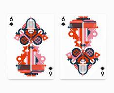 Geometrical Illustrations by Fernando Volken Togni – Fubiz Media Vegas Fun, Flat Illustration, Funny Cards, Deck Of Cards, Card Games, Tarot, Origami, Vibrant Colors, Creations