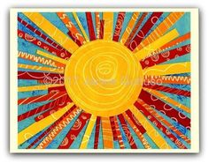 Sun art print Giclee 8 x 10 collage Acrylic painting Sun Painting, Painting Collage, Wall Collage, Painting Prints, Wall Art Prints, Paintings, Playroom Art, Sun Art, Summer Art