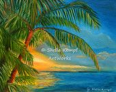 "Sunset ""Reflections"" (Key West) - Original Sunset Seascape Oil Painting with Palm Tree"