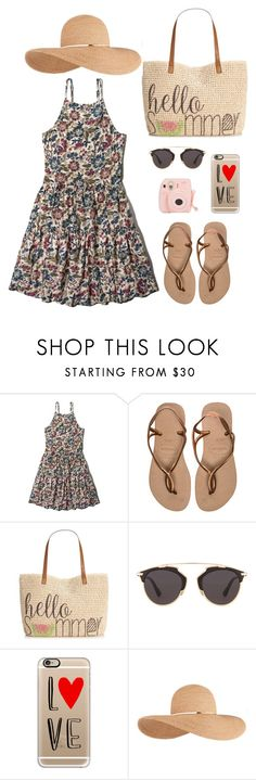 """Hello, Summer"" by yonarisap on Polyvore featuring Abercrombie & Fitch, Havaianas, Style & Co., Christian Dior, Casetify, Eugenia Kim, women's clothing, women, female and woman"