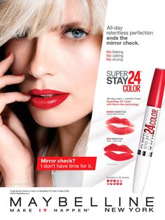 Maybelline 24 Hour Stay Any color Superstay Maybelline, Maybelline Lipstick, Beauty Ad, Beauty Shots, Best Skin Care Routine, Skin Care Tips, 00's Makeup, Conte, Bath And Body Works