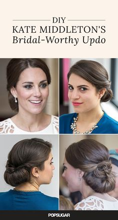 You don't need a glam squad at your beck and call to look like Kate Middleton! Re-create her updo and learn how to fake Kate's incredible blowout at home. This style is perfect for DIY brides: who doesn't want to channel a duchess on their wedding day?
