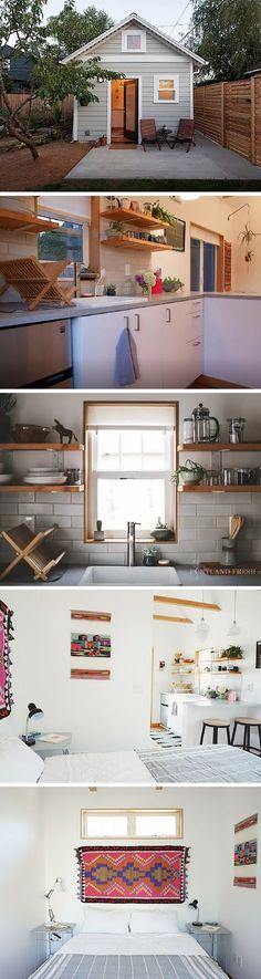 A stylish tiny house in Portland, Oregon - Home Decoration - Interior Design Ideas Garden Shed Interiors, Tiny Spaces, Tiny House Living, Tiny House Design, Small Space Living, Little Houses, House Plans, Layout, Portland Oregon