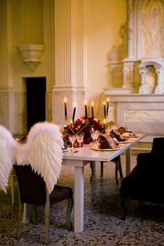romantic dining table #romantic #dining #wings #dinner #chairs #seating #vintage #vintagefurniture #specialtyrentals #vintagerentals