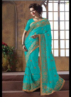 full-turquoise-color-chiffon-wedding-saree-4767-800x1100.jpg (800×1100)