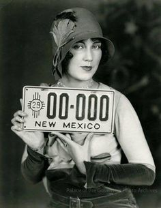 Fay Wray in 1929 with NM's first license plate...