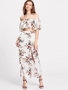 531d2f471f566 Flower Print Crop Swing Bardot Top With Slit Skirt Dms Boutique
