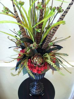 Elegant Tall Faux Floral Arrangement by GreatwoodFlorals on Etsy
