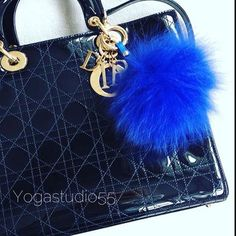 Pompomania on Instagram: Royal Blue #foxfurcharm #furbagcharm available in our store on #etsy :...