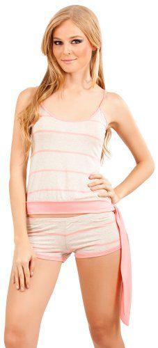f1d7dfeac3b4 Adriana Arango Women s Pajama Set Open Back Top Shorts Striped Print