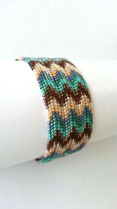 Brown Turquoise Bronze Peyote Bracelet -Beadwork Bracelet- Beadwoven