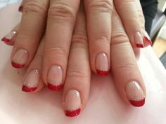 Red sparkle french gel manicure