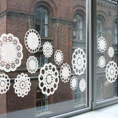 White window stickers Doily from Studio Haikje.  Lace - Window film #window stickers #decorate your window #stylish window stickers #raamstickers #Doily #Lace