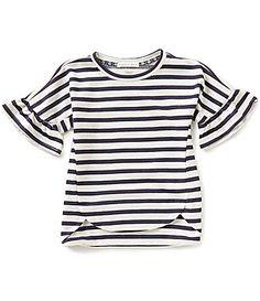 Copper Key Little Girls 46X Ruffle ShortSleeve Nautical Stripe Knit Top #Dillards