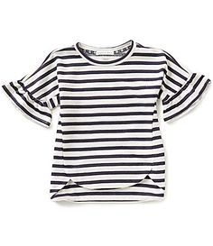 Copper Key Little Girls 46X Ruffle ShortSleeve Nautical Stripe Knit Top #Dillards