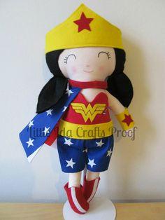 Wonder Woman Doll, Wonderwoman, Superhero, Doll, Super Hero Doll, Action Figure Doll, Handmade Doll, Fabric Doll, Soft Toy, Girl Doll #etsy #love