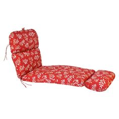 Outdoor Chaise Lounge Cushion - Red/Tan Floral