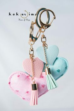 Lovely! matching pastel pink bag keyring