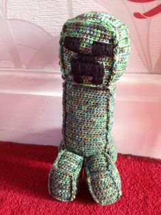Finished my #crochet Creeper for my friend's little boy - hope he likes it! :) #creeper #minecraft