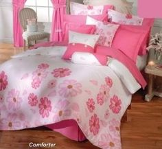 """A Pink Comforter will work in many bedroom themes, not just plain Pink Bedrooms. Most people think of a baby girl when they hear the words """"Pink. Bed Comforter Sets, Queen Bedding Sets, Pink Bedding, Comforters, Pink Bedrooms, Girls Bedroom, Girl Rooms, Bedroom Themes, Bedroom Ideas"""