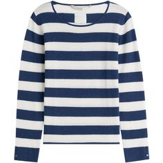 81 Hours by Dear Cashmere Cashmere Striped Pullover ($240) ❤ liked on Polyvore featuring tops, sweaters, stripes, blue striped sweater, fitted sweater, cashmere sweater, scoop neck sweater and long sleeve pullover sweater