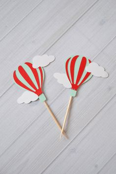 Hot Air Balloon Cupcake toppers Hot Air by InspiredLilParties