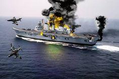 Representación del ataque al HMS Invincible Military Humor, Military Art, Navy Coast Guard, The Art Of Flight, Hms Hood, Falklands War, Navy Ships, Aviation Art, Submarines
