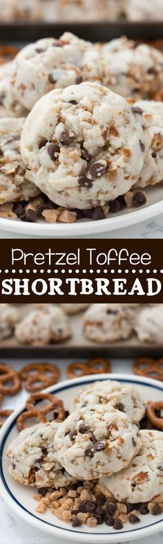 Pretzel Toffee Shortbread Cookies – these easy cookies have just 5 ingredients! … Pretzel Toffee Shortbread Cookies – these easy cookies have just 5 ingredients! Fast and foolproof, they're the BEST cookie ever! Köstliche Desserts, Delicious Desserts, Dessert Recipes, Yummy Food, Health Desserts, Plated Desserts, Yummy Cookies, Shortbread Cookies, Cookies Et Biscuits