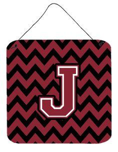 Letter J Chevron Garnet and Black Wall or Door Hanging Prints CJ1052-JDS66